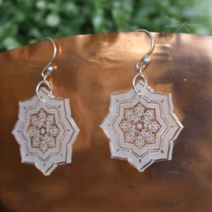 clear acrylic earring starflower