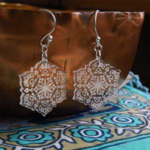 clear acrylic earring summer mandala