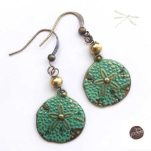 brass patina earring
