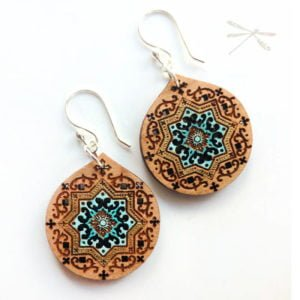 Wood persian earring