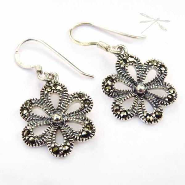 Rose marcasite earrings