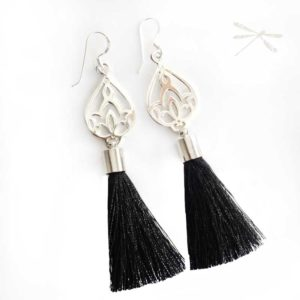 Black Tassel silver drop