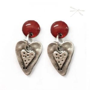 Small heart silver drop earrings