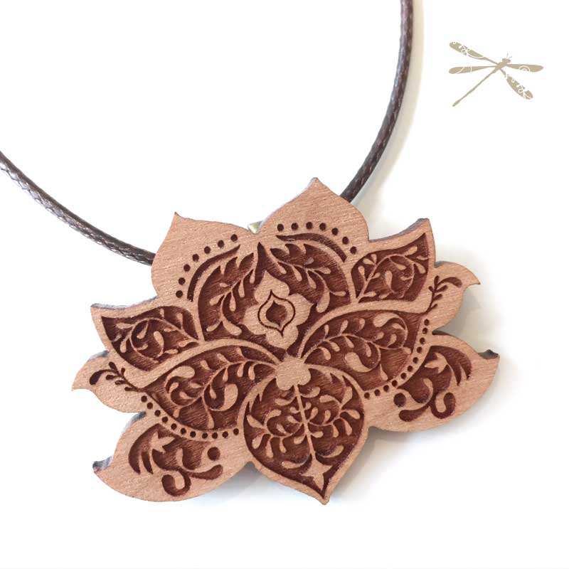Lasercut Wood Lotus Flower Pendant Jodee Creations