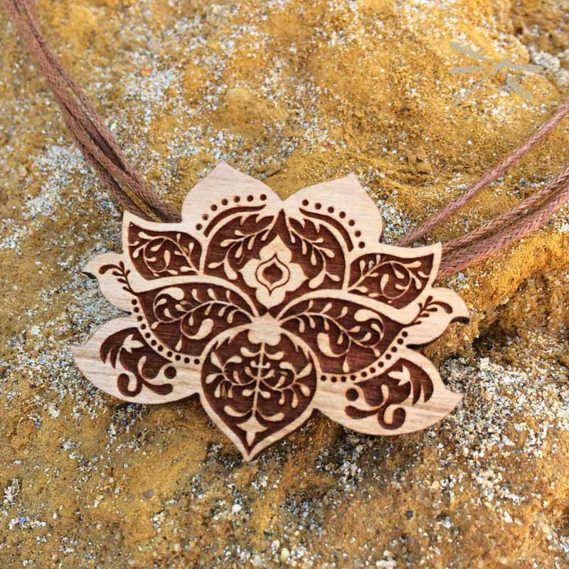ed6ec217e1 Lasercut wood Lotus Flower pendant | Jodee Creations