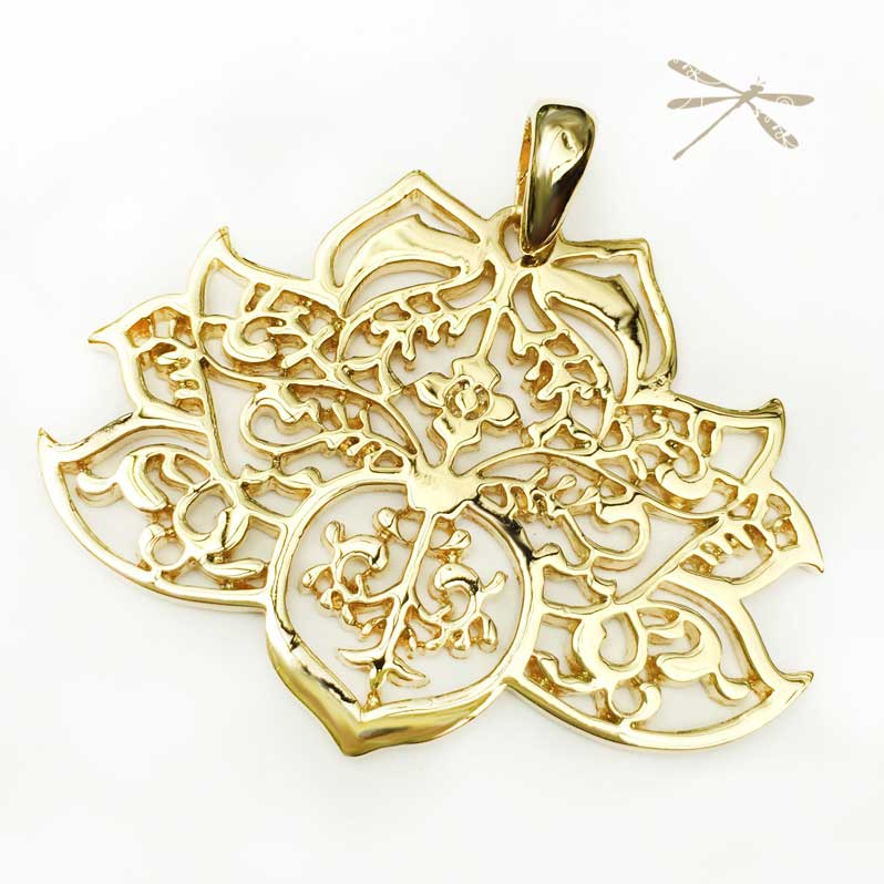 Gold lotus pendant jodee creations gold lotus pendant mozeypictures Image collections